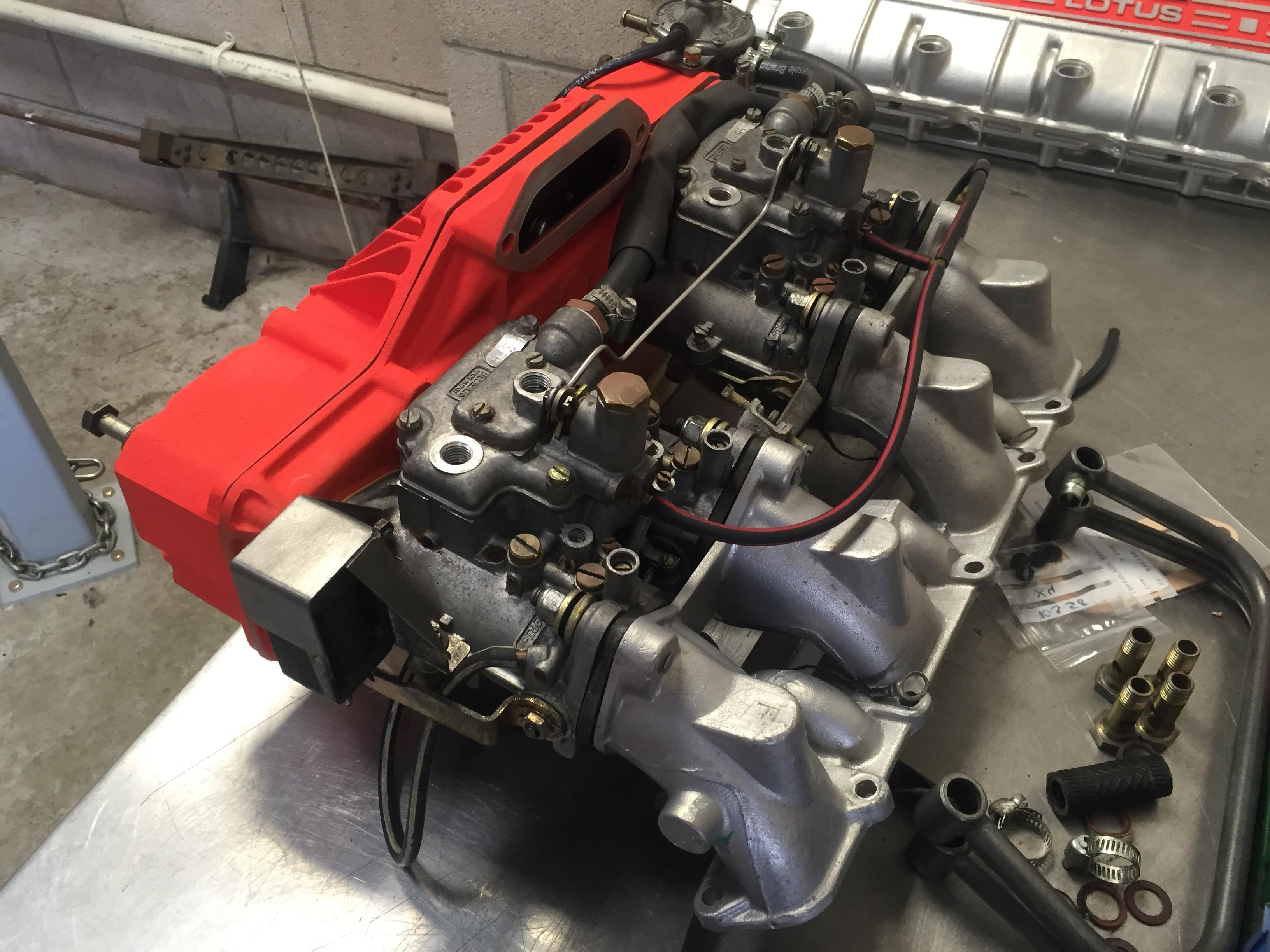 Lotus Esprit Turbo Carburettor Rebuilding Service at Esprit Engineering with repainted pleniums