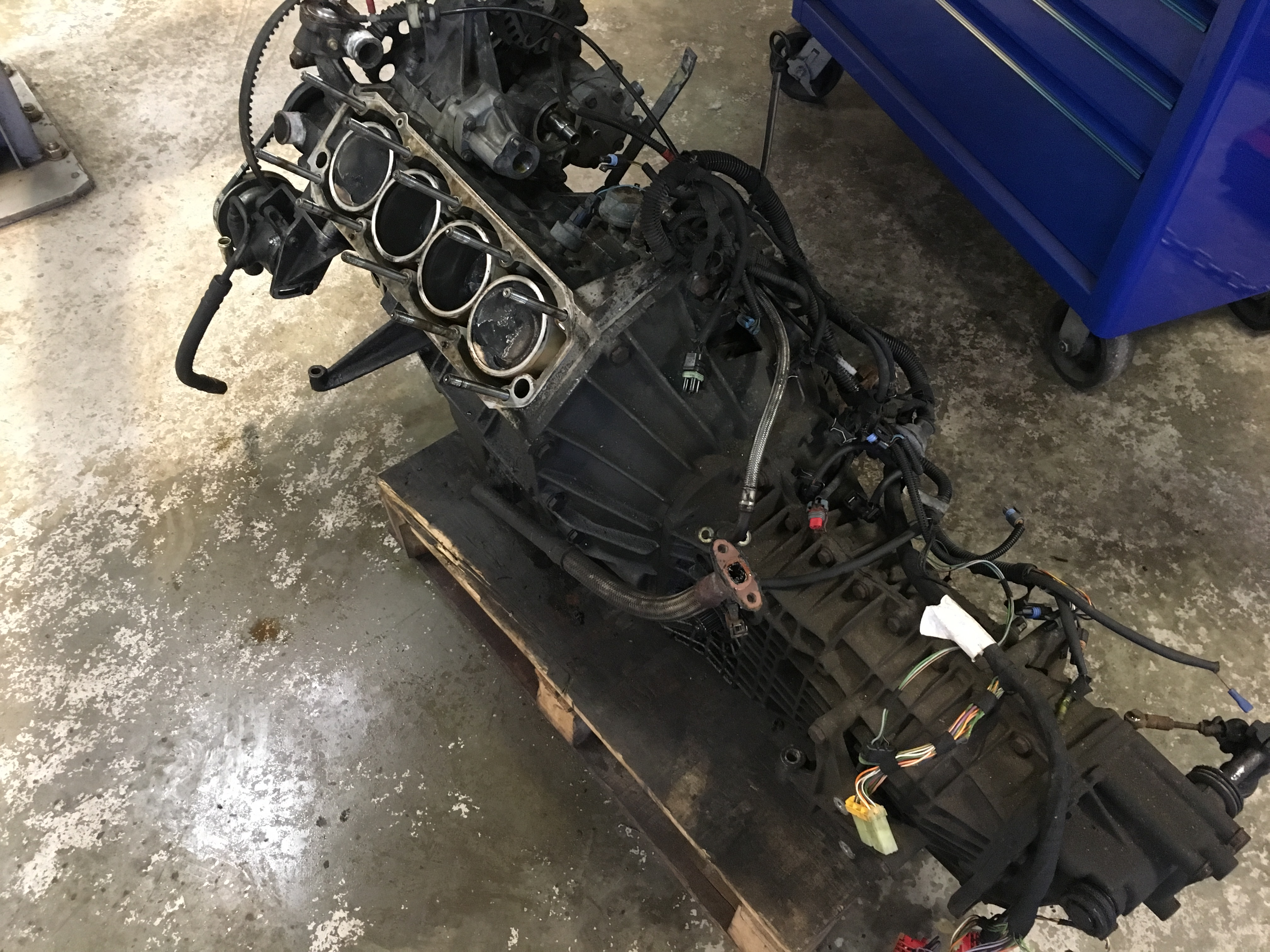 Lotus Esprit 4 Cylinder 900 series engine being stripped down  to carry out nessasary repairs