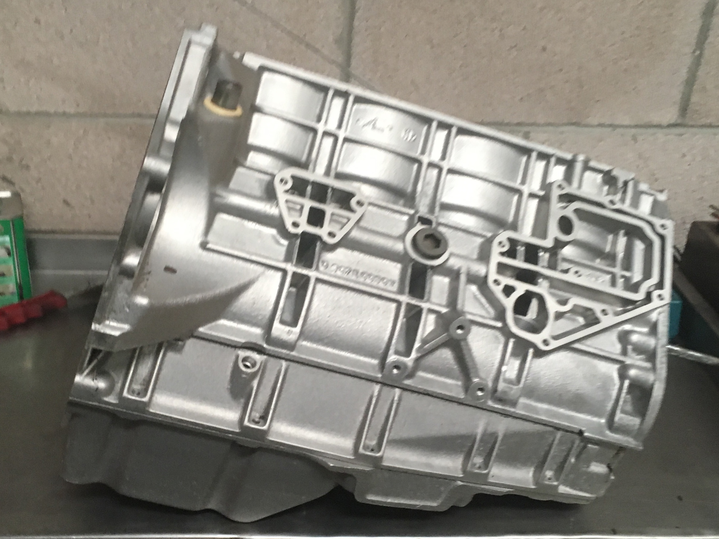 Lotus Esprit 4 Cylinder 900 series engine block after the Esprit Enginering aqua shot blasting process ready for inspection.