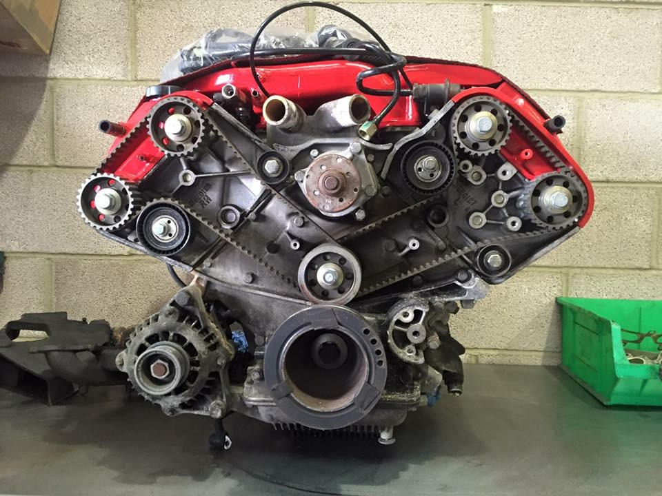 Lotus Esprit V8 Twin Turbo Engine on the bench for turbos, cambelts, oil pipes and clutch