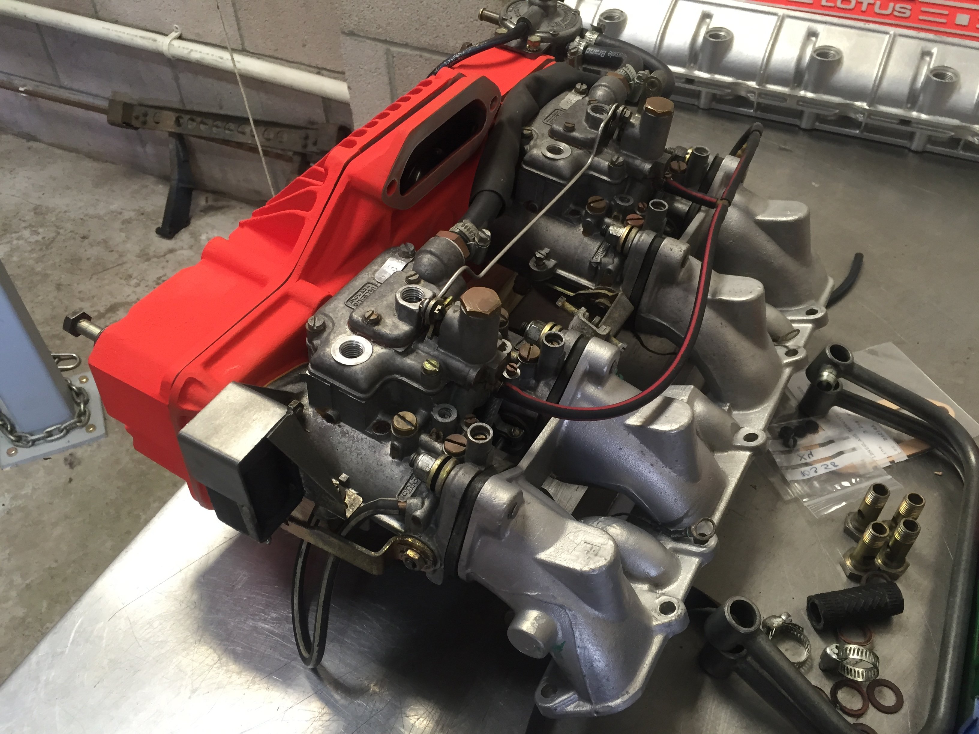 Lotus Esprit Turbo Carburettor Rebuilding Service at Esprit Engineering with repainted pleniums